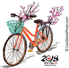 Chinese new year. Hand drawn tintage bicycle with sakura blossom in rear basket. Year of the dog