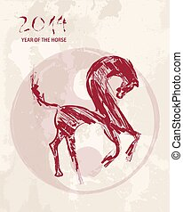 Chinese new year Horse sketch style vector file.