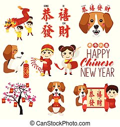 Chinese New Year Icons and Cliparts Illustration - A vector...