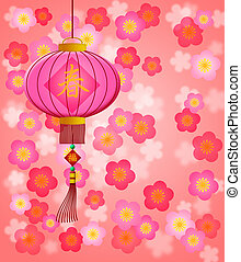 Chinese New Year Lantern with Cherry Blossom Background