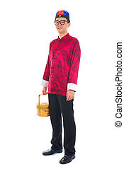 chinese new year male with basket visiting during lunar new year