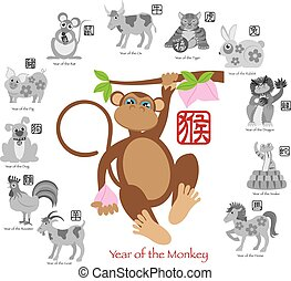 Chinese New Year of the Monkey Color with Twelve Zodiacs with Chinese Text Seal in Circle Grayscale Illustration