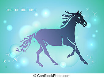 Chinese New Year of horse 2014 blue background