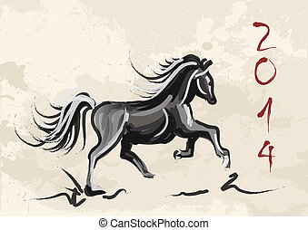 Chinese New Year of horse 2014 ink brush painting over...