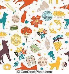 Chinese new year of the dog 2018 seamless pattern illustration, colorful asian culture icon decoration background. EPS10 vector.