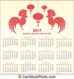 Chinese New Year of the Fire Rooster. Calendar 2017