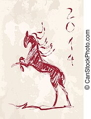 Chinese new year of the Horse brush style vector file.