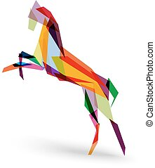 Colorful abstract triangle silhouette composition: 2014 Chinese New Year of the Horse illustration. EPS10 vector file with transparency layers.
