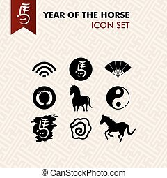 Chinese new year of the Horse icons set