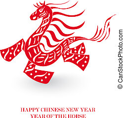 Chinese New Year of the Horse isolated card