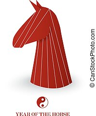 Chinese new year of the Horse red chess figure vector.