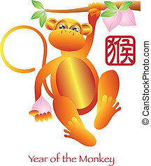 Chinese New Year of the Monkey Zodiac with Chinese Monkey...