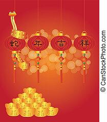 Chinese New Year of the Snake Lanterns Illustration