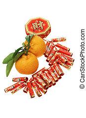 Chinese new year ornament and mandarin oranges