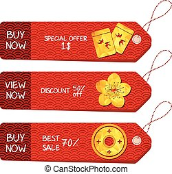 Chinese new year. Paper labels
