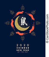 Chinese new year rat 2020 gold glitter moon card