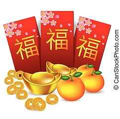 Chinese new year red packet and decoration vector