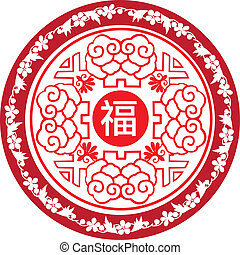 chinese new year round icon pattern