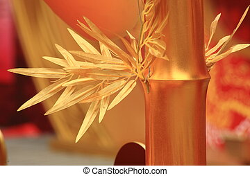 chinese new year scene, man-made golden bamboo