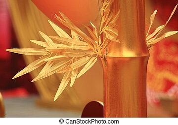 chinese new year scene, man-made golden bamboo