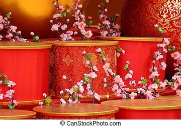 chinese new year scene, man-made peach blossom
