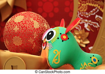 chinese new year scene, with 2010 chinese zodiac tiger doll
