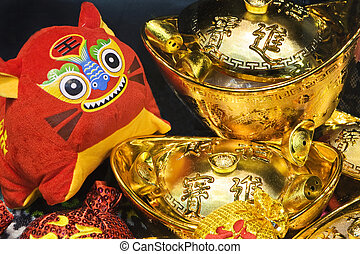 Chinese new year scene, with 2010 chinese zodiac tiger doll.