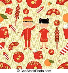 Chinese New Year seamless pattern.