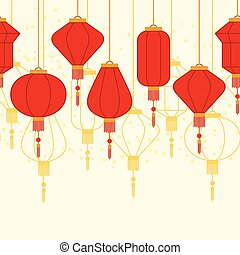 Chinese New Year seamless pattern with lanterns.