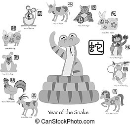 Chinese New Year Snake with Twelve Zodiacs Illustration