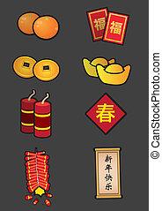 Chinese New Year Symbolic Decoration Icon Set - Vector...