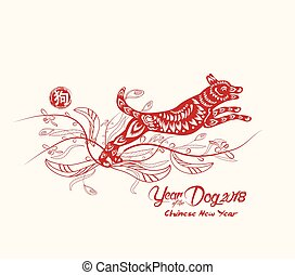 chinese new year with dog in frame and floral year of the dog chinese
