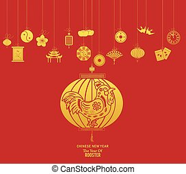 Chinese new year with lantern. Year of Rooster