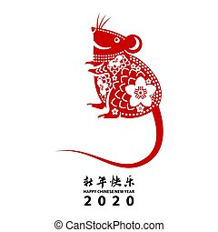 chinese new year with rat symbol of zodiac in red color
