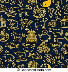 Chinese new year zodiac signs pattern background