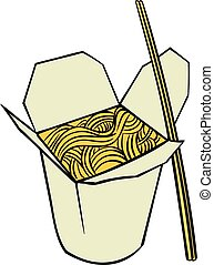 Chinese noodle in box icon cartoon