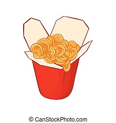 Chinese noodles box icon, cartoon style