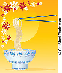 chinese noodles - an illustration of chinese noodles with...