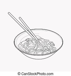 Chinese noodles icon line element. Vector illustration of chinese noodles icon line isolated on clean background for your web mobile app logo design.