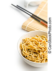 chinese noodles in ceramic bowl