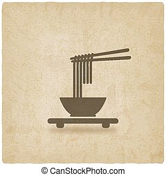 Chinese noodles old background. vector illustration - eps 10
