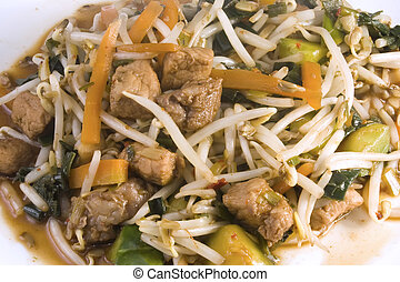 Chinese noodles - Chinese noodle dish with pork and bean...