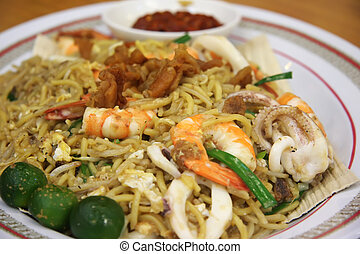 Chinese noodles - Chinese fried seafood noodles with prawns...