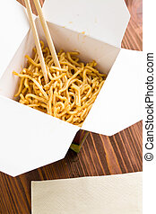 chinese noodles - fast food. chinese noodles in paper box