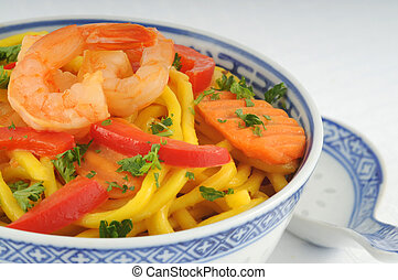 Chinese Noodles - Bowl of chinese noodles with colorful...