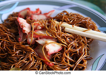Chinese noodles - Traditional chinese noodle dish with soy...