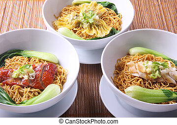 Chinese noodles variety with vegetables