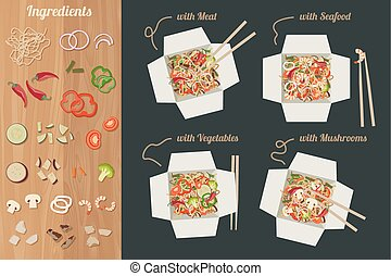 Chinese noodles with ingredients. - Chinese noodles with...