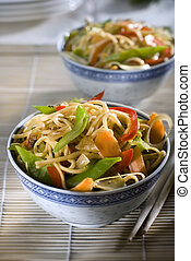 noodles - chinese noodles with vegetables close up shoot