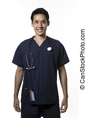Chinese nurse wearing dark blue Scrubs - Portrait of a Male...